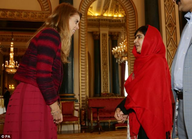 Royal meeting: Princess Beatrice shook Malala's hand and told her, 'It's so wonderful to meet you. What you've achieved is just so incredible'