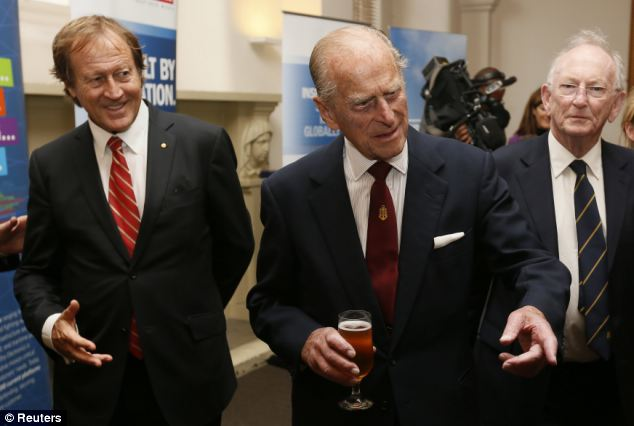 Prince Philip (pictured centre at the reception afterwards) 'loved' the renaming ceremony and said 'That's very Australian'