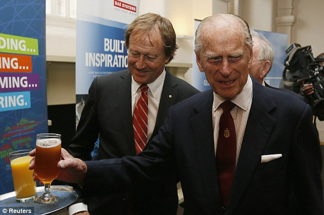 The Duke of Edinburgh enjoyed a beer during the renaming ceremony on Friday afternoon