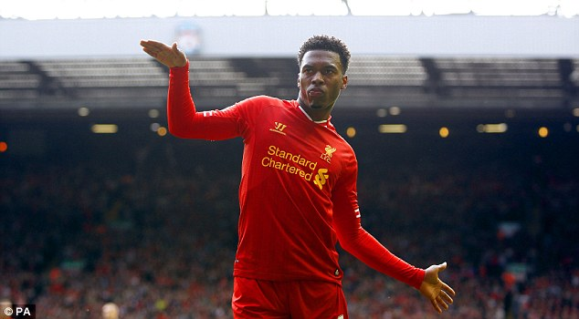 Dancing feet: Rodgers will be hoping Daniel Sturridge is celebrating yet another goal at St James' Park