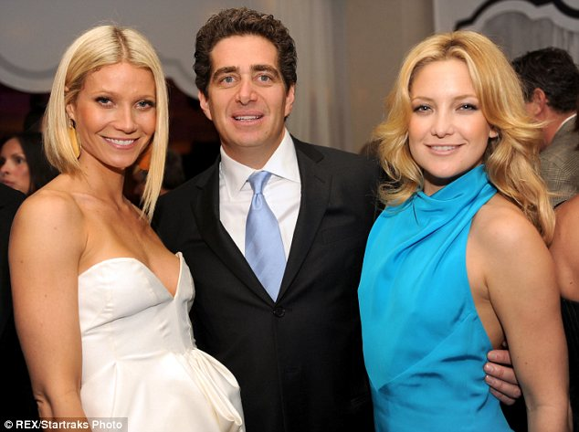 Close friends: Gwyneth Paltrow and Kate Hudson beam as they join billionaire Jeffrey Soffer at the reopening of his Miami hotel, the Fontainebleau, in November 2008