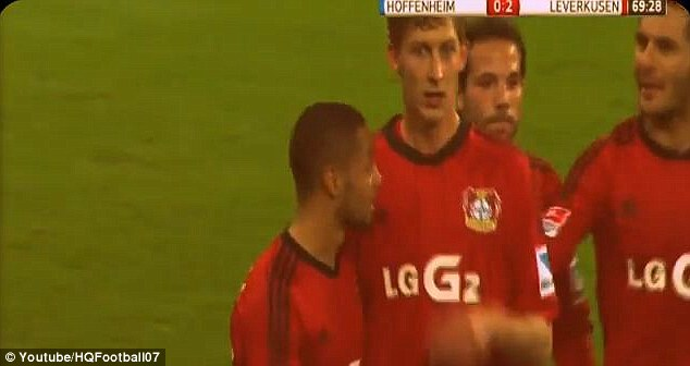 Staggering: Kiessling himself looked confused as the players congratulated him on the goal