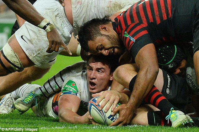 Key moment: Toulouse's Louis Picamoles stretches for the line to score a try against Saracens