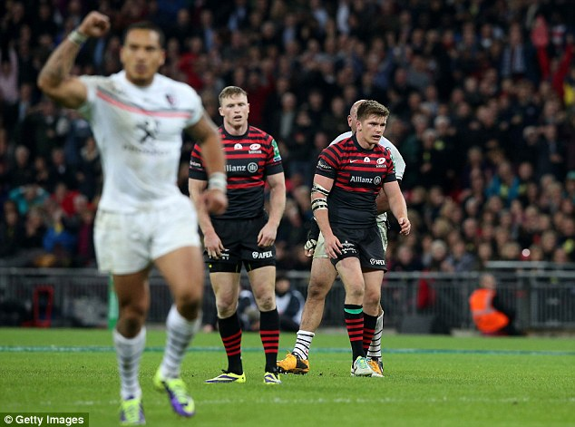 Narrow loss: Farrell, right, looks on after Saracens' defeat to Toulouse
