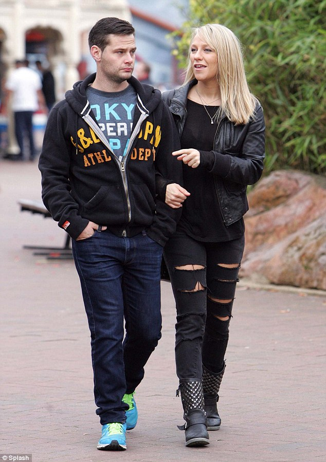 Arm in arm: Chloe Madeley and Danny Young made an appearance at Thorpe Park on Friday afternoon