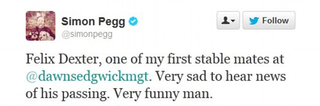 Simon Pegg tweets tributes to Felix Dexter