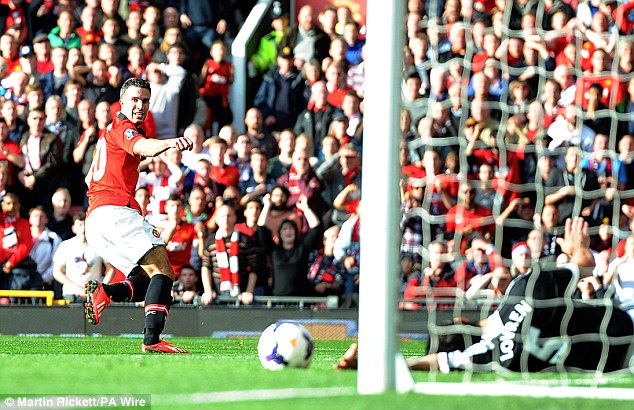 Finish: Robin van Persie gave Manchester United the lead in the 26th minute