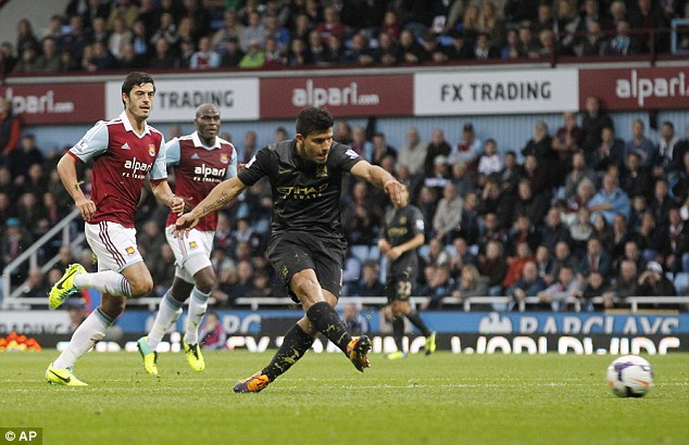 Easy does it: Aguero makes it 1-0 from close range
