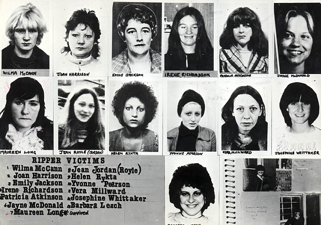 Serial killer: A police document from the Ripper investigations shows the 13 whose murders Peter Sutcliffe has been accused of