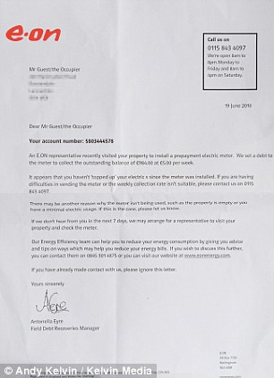 Dispute: A month later Mr Guest received another letter noting he had not topped up his meter