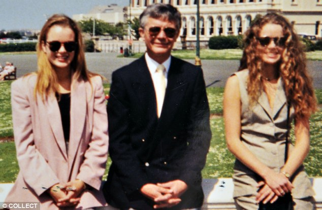Distant relationship: Amanda, far left, with her father Frank Holden and sister Debbie during a rare meeting near Frank's home in 1995