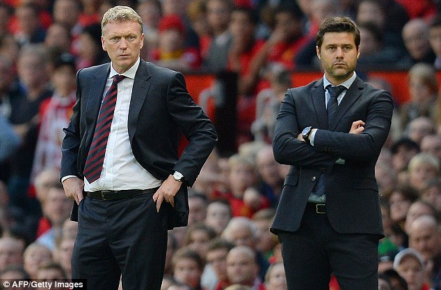 Tough start: David Moyes, pictured with Southampton boss Mauricio Pochettino, saw his side drop two points on Saturday