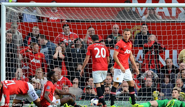 Net pains: Manchester United are left floored after Southampton's late equaliser in Saturday's 1-1 draw