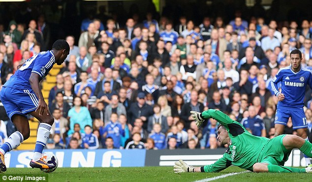 Controversy: Eto'o has an effort at goal before the ball falls to Eden Hazard to score from close-range