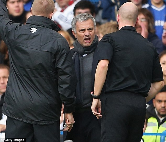 Off you go: Chelsea manager Jose Mourinho is sent off by referee Anthony Taylor