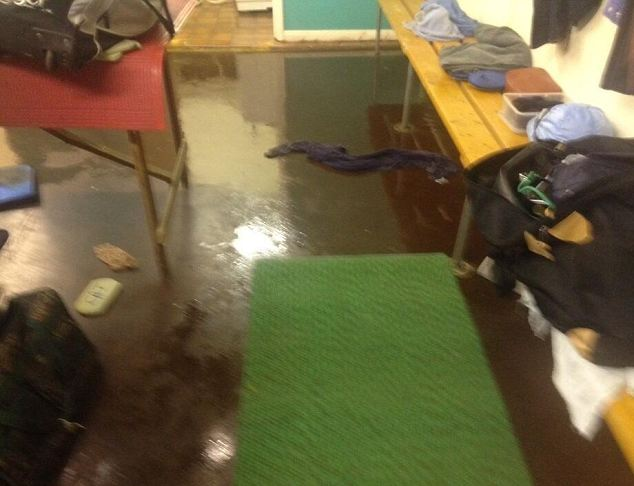Mess: Richard Hughes tweeted this picture of sewage on floor of changing room