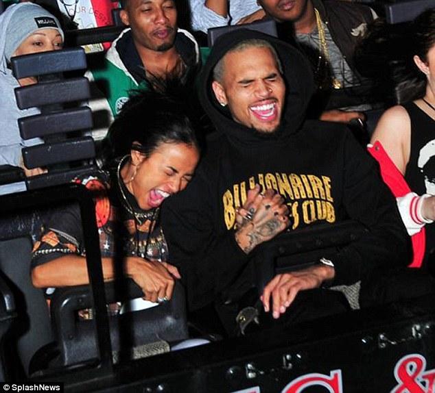 Seven months strong! Chris Brown took a wild ride on Universal Studios' Revenge of the Mummy ride with girlfriend Karrueche Tran Thursday night