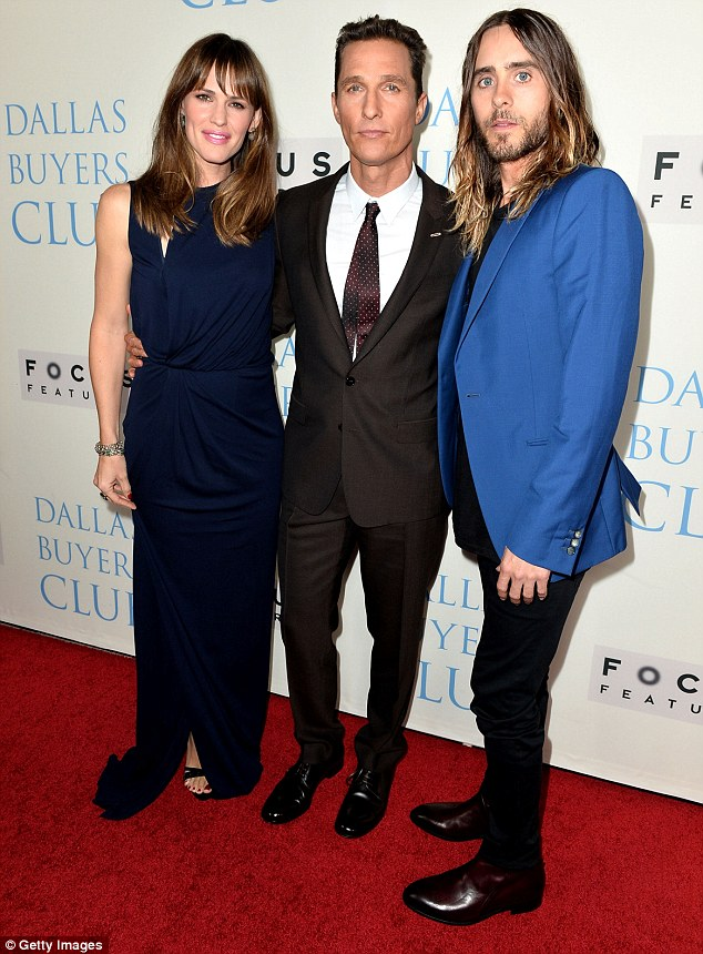 Red carpet ready: Just two days earlier the 41-year-old actress stunned in a midnight blue dress at the premiere of the Dallas Buyers Club in Los Angeles with Matthew McConaughey and Jared Leto