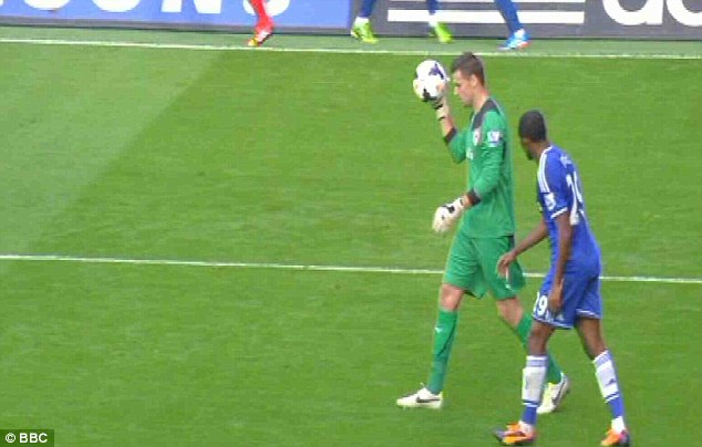 On the prowl: Eto'o watches David Marshall as the keeper bounces the ball