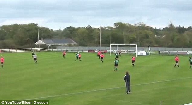 Beats the keeper: Roche's shot flies into the net in the Irish womens' league game