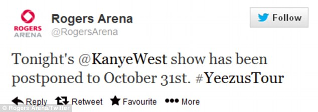 'Unforeseen circumstances': Just 24 hours after kicking off his Yeezus Tour in Seattle, Kanye suddenly cancelled his concert in Vancouver's Rogers Arena Sunday night