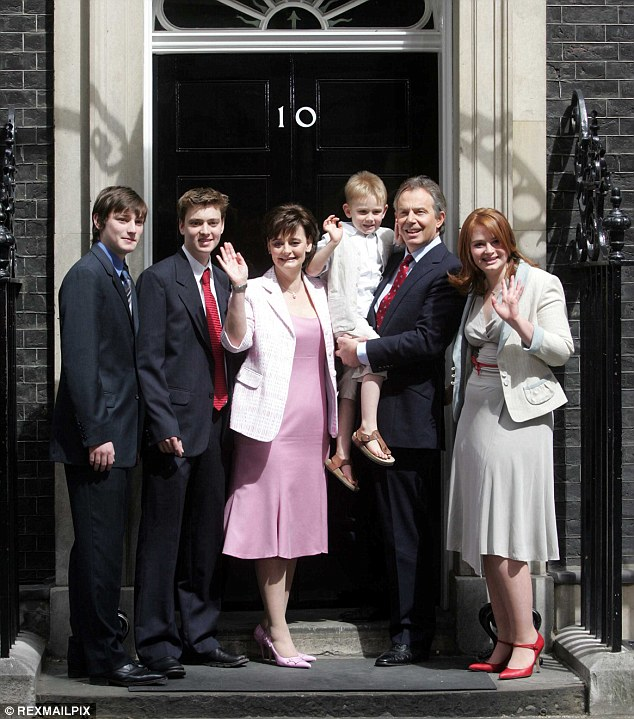 Downing Street mother: Mrs Blair, picture here with her family after her husband won his third election in 2005, said mothers returning to work after giving birth should be given training