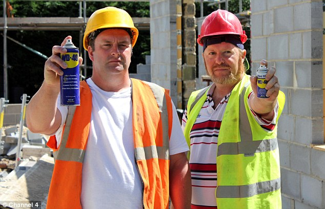 Magic spray: Andy (left) and Simon claim that industrial lubricant WD-40 is the cure for arthritis and chest pain