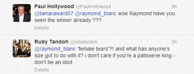 Angry reaction: GBBO judge Paul Hollywood and finalist Ruby Tandoh hit back at the French chef on Twitter