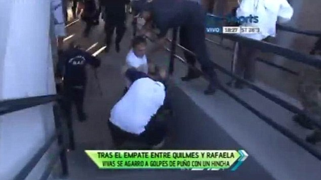 Outrage: Nelson Vivas was filmed throwing a punch at a dissenting supporter