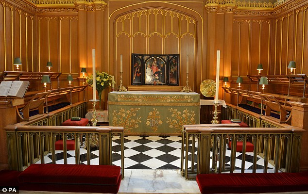 The interior of the Chapel Royal at St James's Palace in central London, where Prince George of Cambridge will be christened