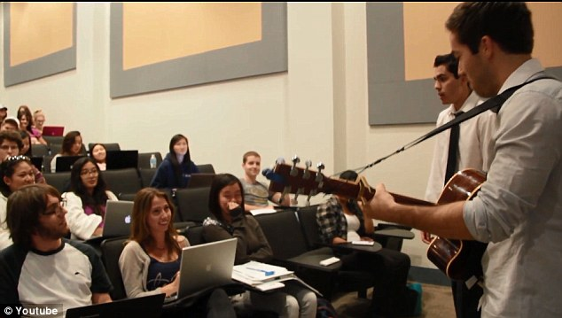 College sweethearts: Forgeard and his accompanist Niko Martinovik in a surprise mid-lecture serenade