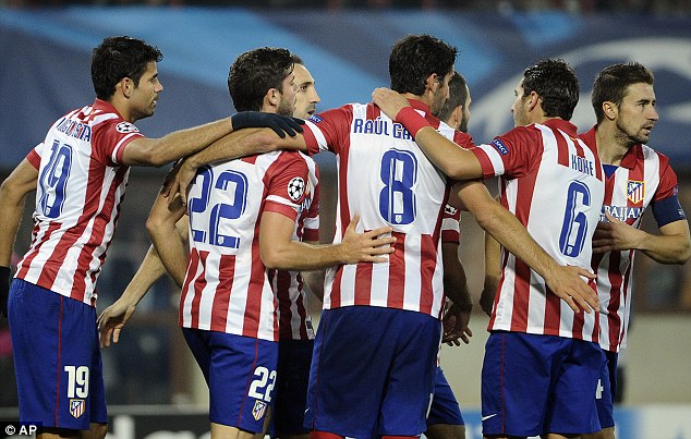 Victory: Madrid's Diego Costa, Emiliano Insua, Raul Garcia, Koke and Gabi, from left, celebrate after third goal