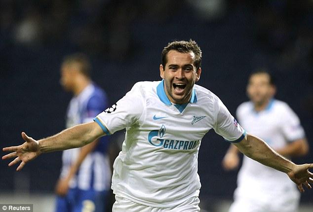 Zenit's Aleksandr Kerzhakov celebrates his late winner against Porto