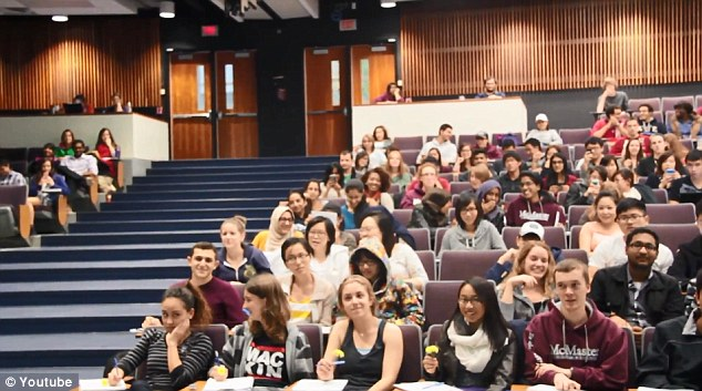 Front row: With one notable exception, the girls in this lecture's front row seem to have enjoyed Forgeard's efforts