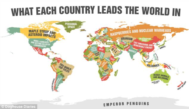 This is a map created by Doghouse Diaries showing what each country leads the rest of the world at