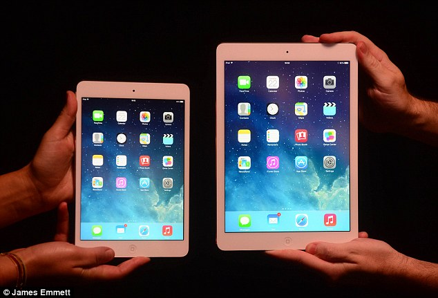 Apple's tablet range received mixed scores. The 9.7-inch iPad Air, right, came second, while the iPad mini with Retina Display, left, came sixth with a score of 2512. The iPad 2 scored 502, yet it is a three-year-old model