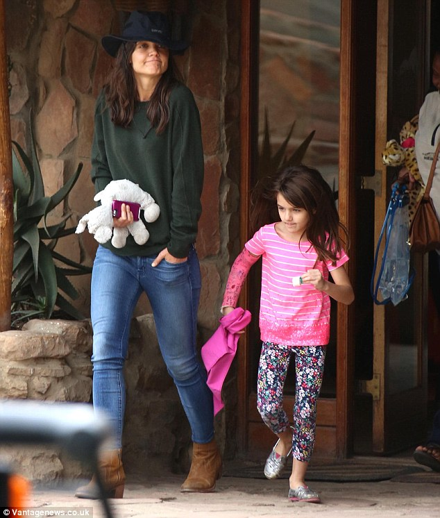 Here we go! Katie Holmes and daughter Suri head off on safari in South Africa at the Aquila Game Reserve over the weekend