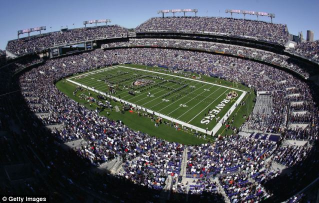 The Jumbotron screens above the end zones at M&T Bank Stadium in Baltimore are displaying at least two pro-Obamacare ads during each home game this season