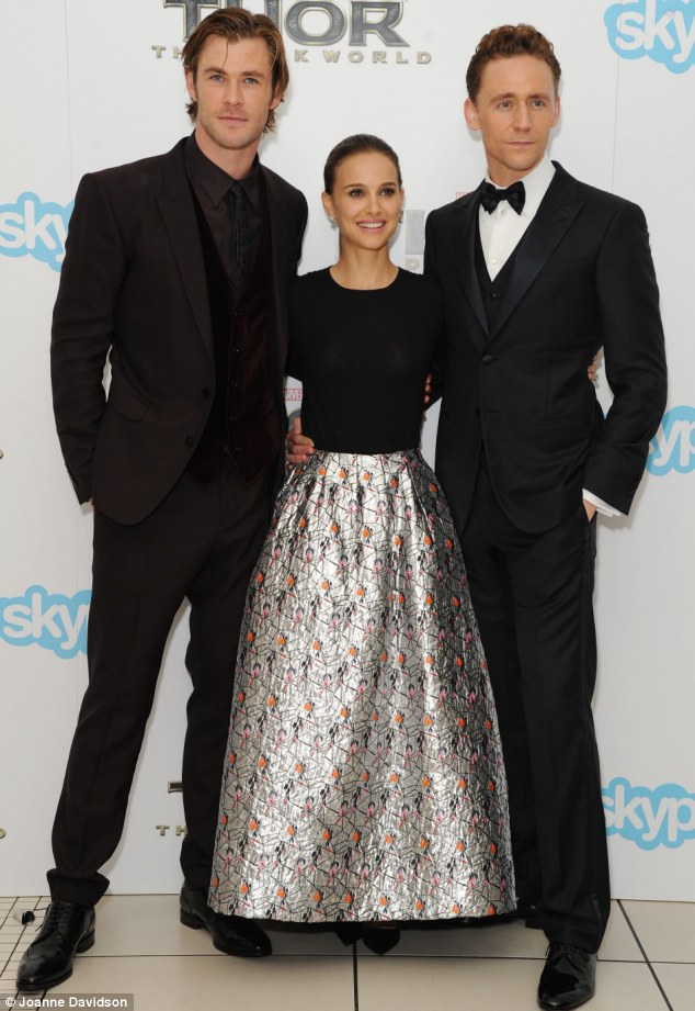 Taking the lead: Chris Hemsworth,  Nathalia Portman and Tom Hiddleston are at the centre of the story