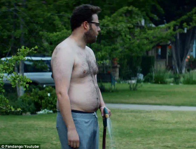 Not-so-stiff competition: Seth Rogen's Mac may not have the chest of Efron, but he has other tricks up his non-existent sleeves