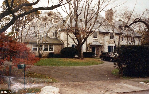 Scene: Another court evidence photo shows the rear of the Skakel home in their elite gated Greenwich, Connecticut community. Martha Moxley's home was just 150 yards away