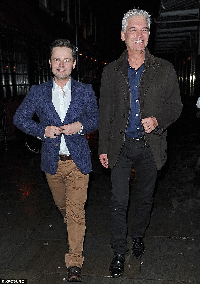 Bit of blue: Both Declan Donelly and Philip where a watery shade for the evening in London