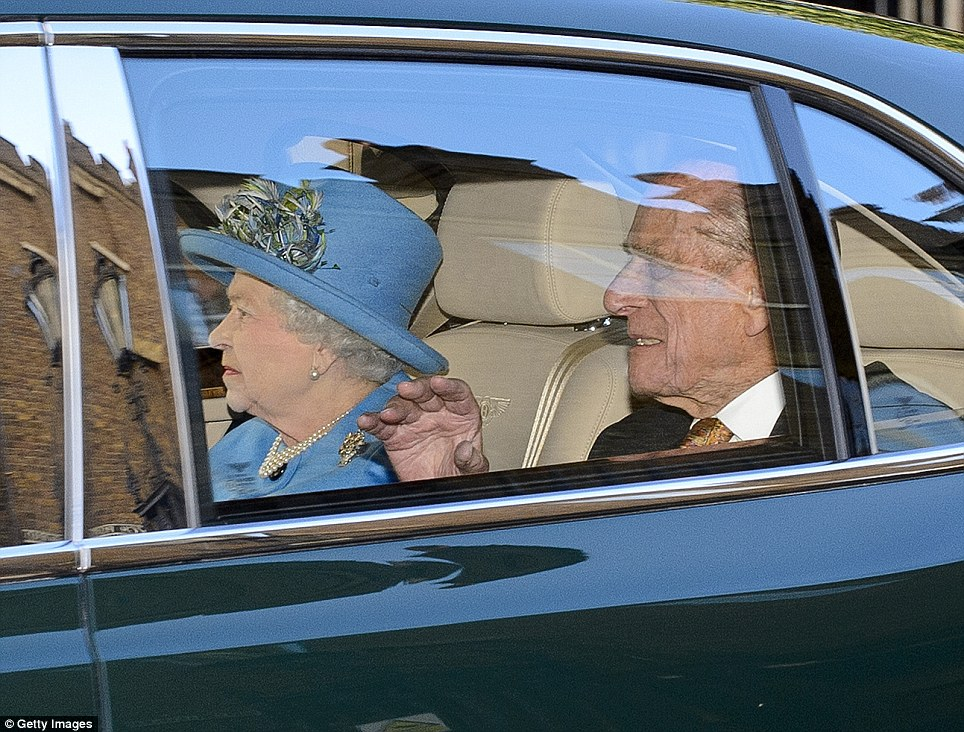 Prince George's great-grandmother, HM The Queen, arrived in a smart hat just before the baby's christening at St James's Palace yesterday afternoon