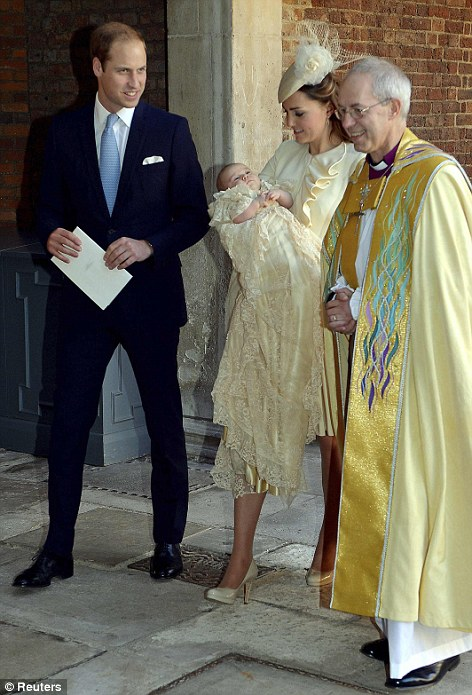 Joy: The Duchess of Cambridge walks with her husband Prince William and the Archbishop of Canterbury Justin Welby, as she carries her son Prince George