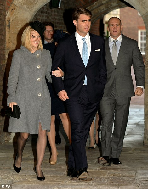 Oliver Baker (centre) with partner Mel and Michael Tindall (right) arrive at Chapel Royal in St James's Palace