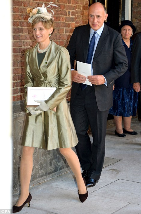 Jamie Lowther-Pinkerton and his wife  leave the Chapel Royal in St James's Palace