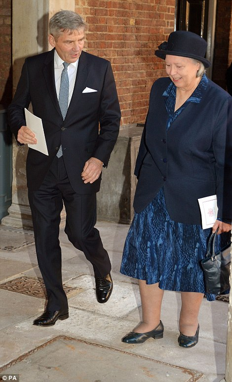 Michael Middleton and nanny Jessie Webb leave the Chapel Royal in St James's Palace, central London, following the christening of Prince George by the Archbishop of Canterbury