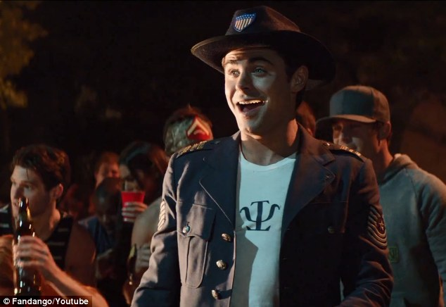 Pleased as punch: Zac looks on as the fireworks go off at his frat house - his neighbors are less amused