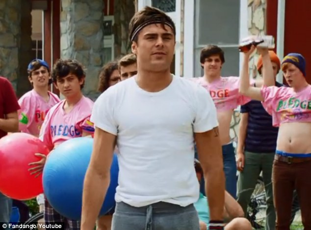 Leader of the pack: Zac Efron apologises for throwing his ball in Seth Rogen's face