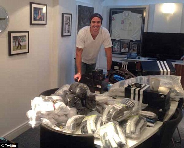 Kitted out: Pietersen tweeted this picture of himself packing for the Ashes on Tuesday